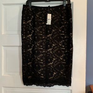 New with tags, never worn. Black lace pencil skirt